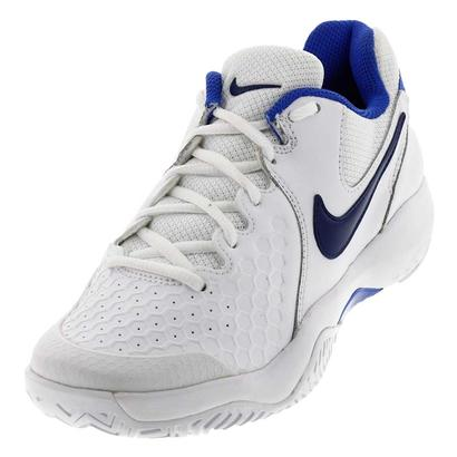 Women`s Air Zoom Resistance Tennis Shoes White and Binary Blue