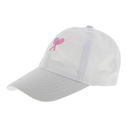 Girls` Tennis Cap White with Pink Racquets