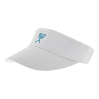 Girls` Tennis Visor White with Blue Racquets