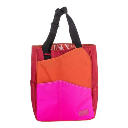 Three Tone Tennis Tote Orange Red and Fuschia
