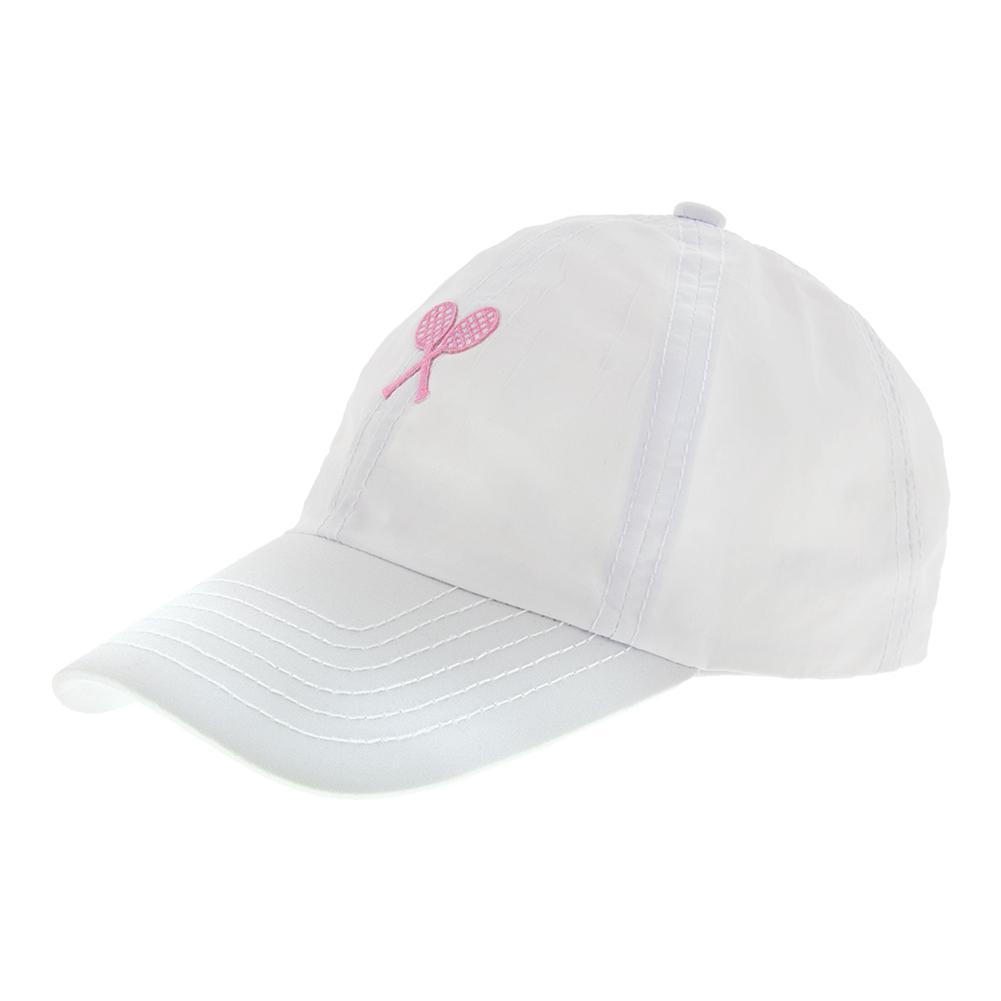Girls ` Tennis Cap White With Pink Crest