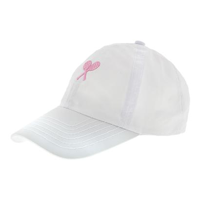 Girls` Tennis Cap White with Pink Crest