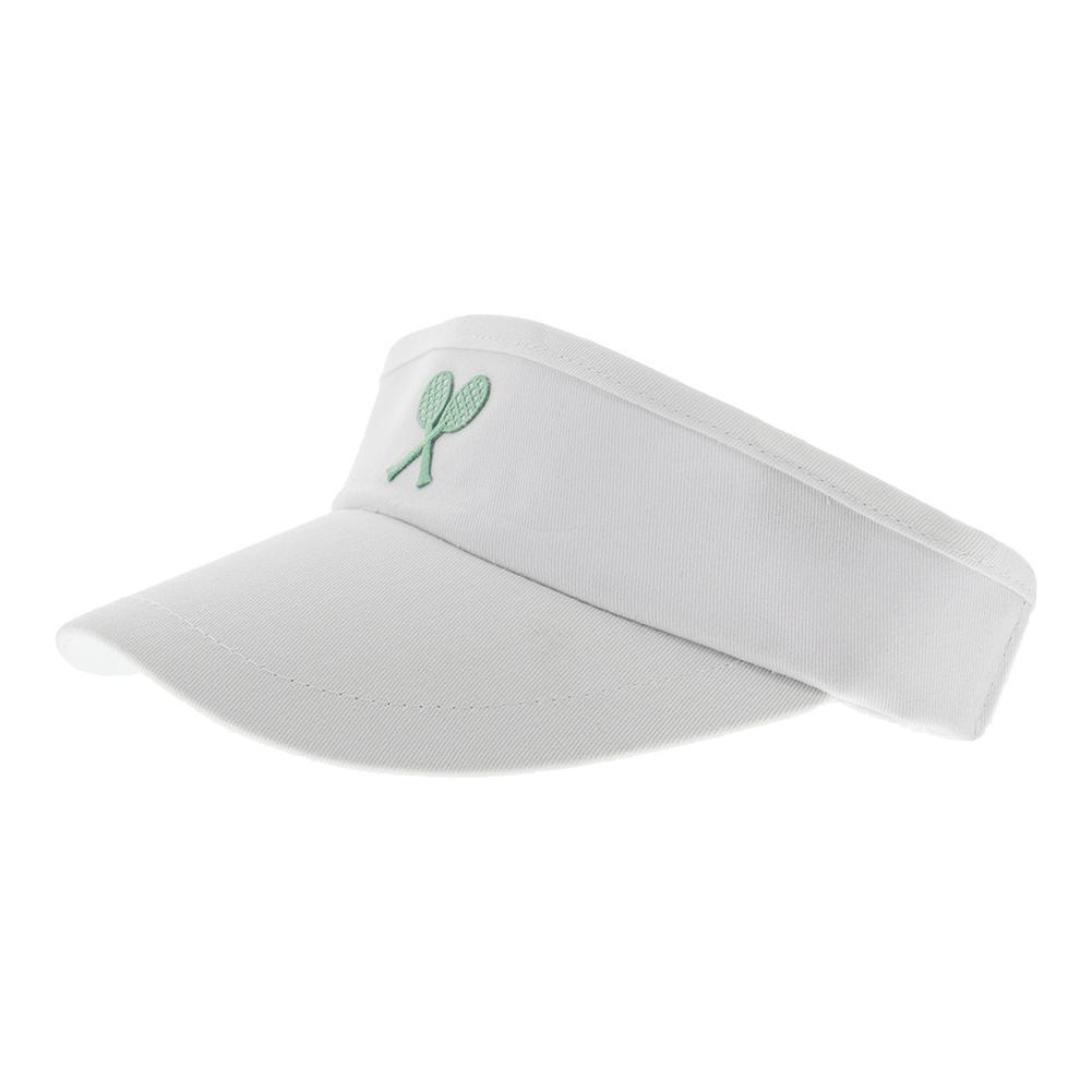 Girls ` Tennis Visor White With Green Crest
