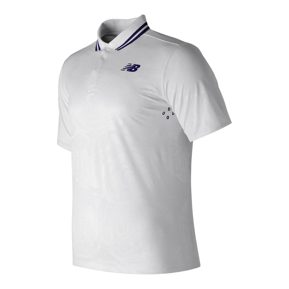 New Balance Mens Tournament Wimbledon Tennis Polo In White