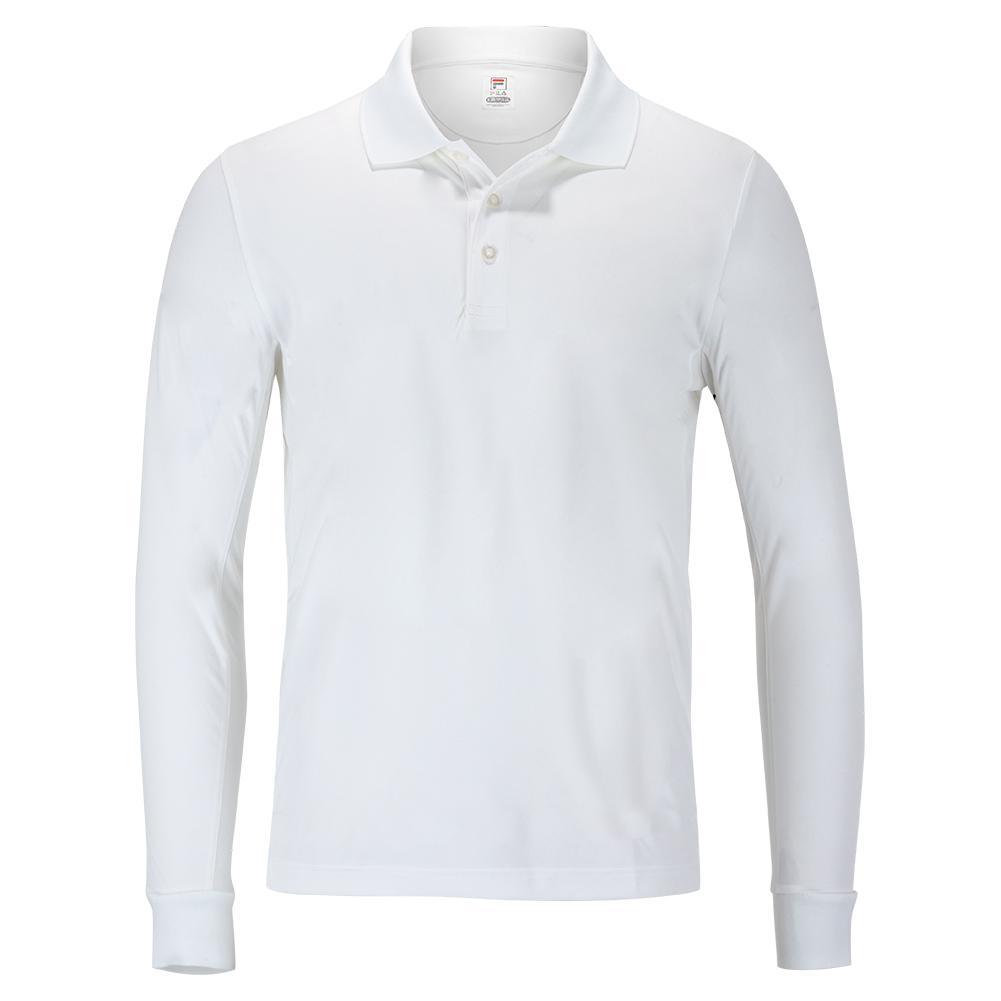Men's Crestable Long Sleeve Tennis Polo White