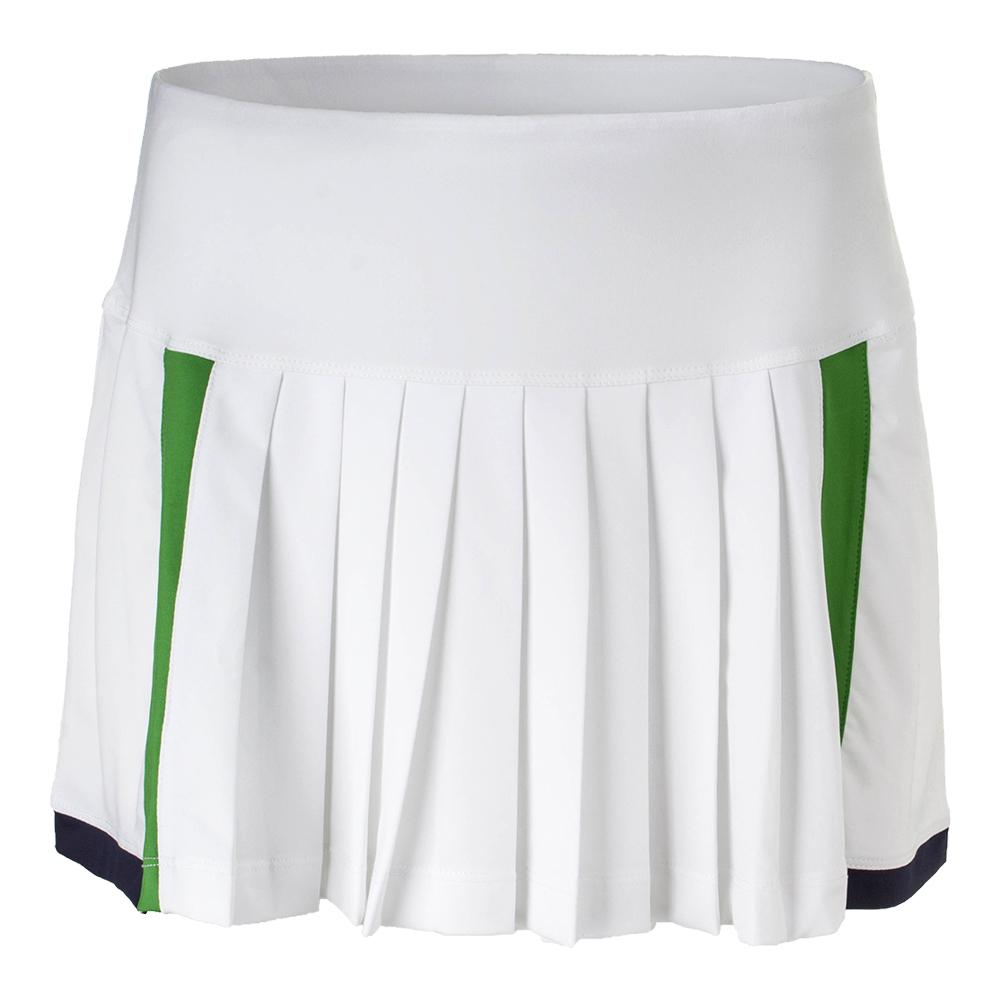 Women's Heritage Pleated Tennis Skort White And Olive