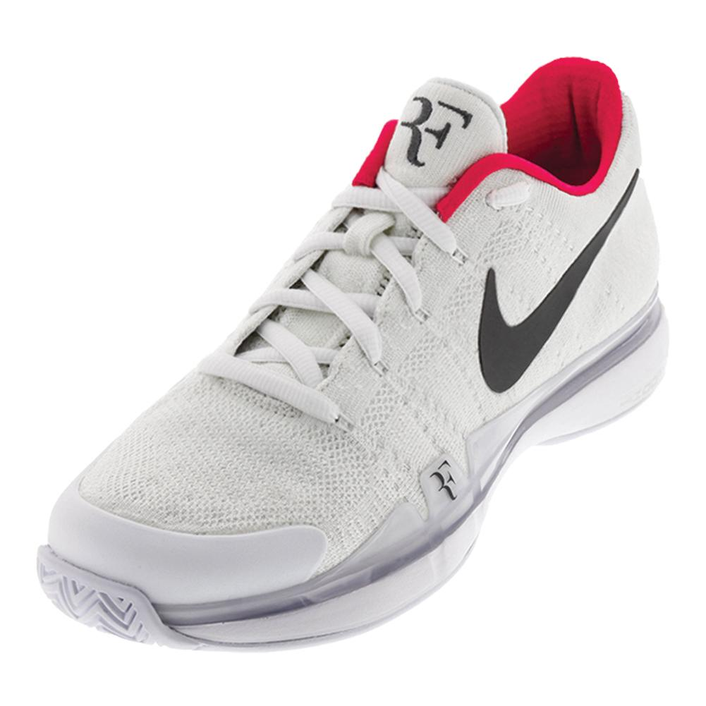 Men's Zoom Vapor Flyknit Qs Tennis Shoes White And Dark Gray
