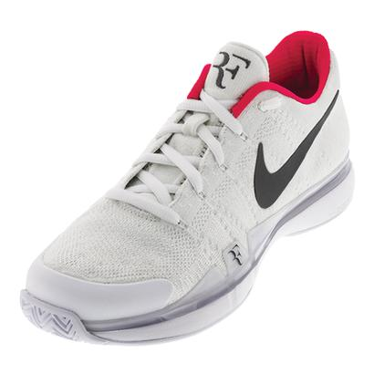 Men`s Zoom Vapor Flyknit QS Tennis Shoes White and Dark Gray