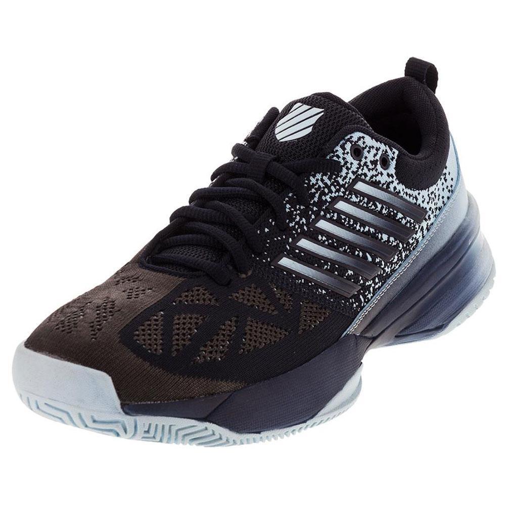 Men's Knitshot Tennis Shoes Black Iris And Blue Glow