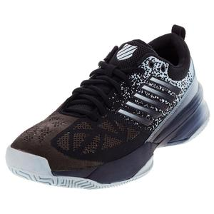 Men`s Knitshot Tennis Shoes Black Iris and Blue Glow
