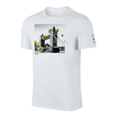 Men`s Court Wimbledon Tennis Tee White