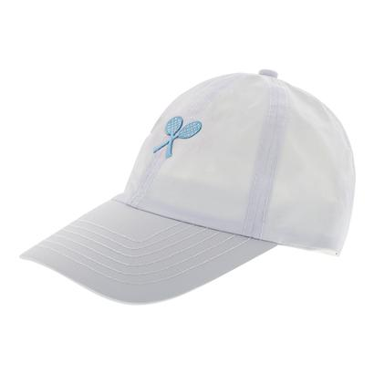 Girls` Tennis Cap White with Blue Racquets