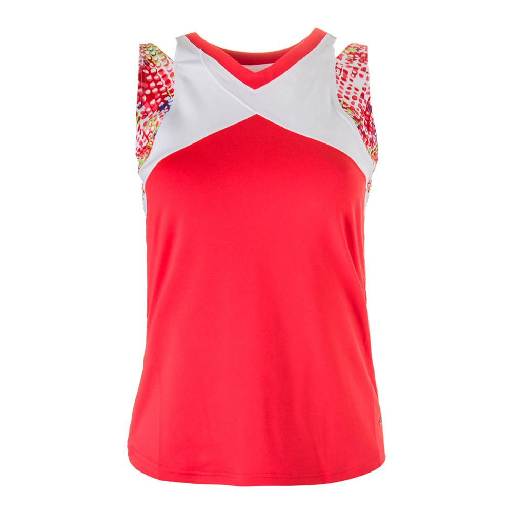 Women's Confetti Tennis Tank White And Coral