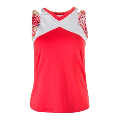 Women`s Confetti Tennis Tank White and Coral