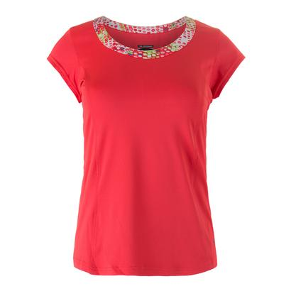 Women`s Confetti Cap Sleeve Tennis Top Coral