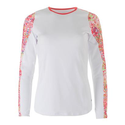 Women`s Confetti Long Sleeve Tennis Top White and Coral