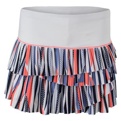 Women`s Block Party Pleat Scallop Tennis Skort White