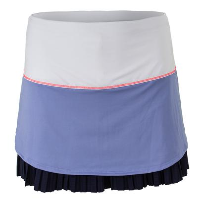 Women`s Long Drop Pleat Tennis Skort White and Ice
