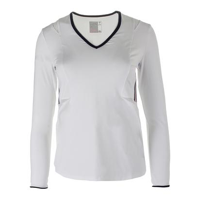 Women`s Long Sleeve Mesh Tennis V-Neck White