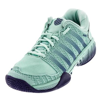 Women`s Hypercourt Express Tennis Shoes Brook Green and Blue Ribbon