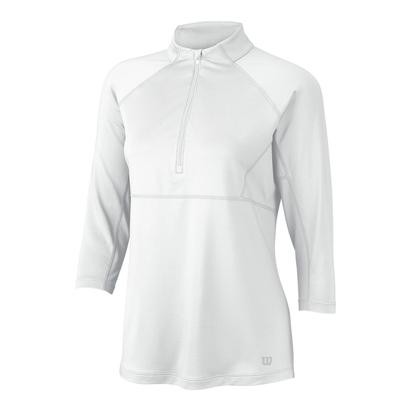 Women`s 3 Quarter Sleeve Zip Neck Tennis Top White
