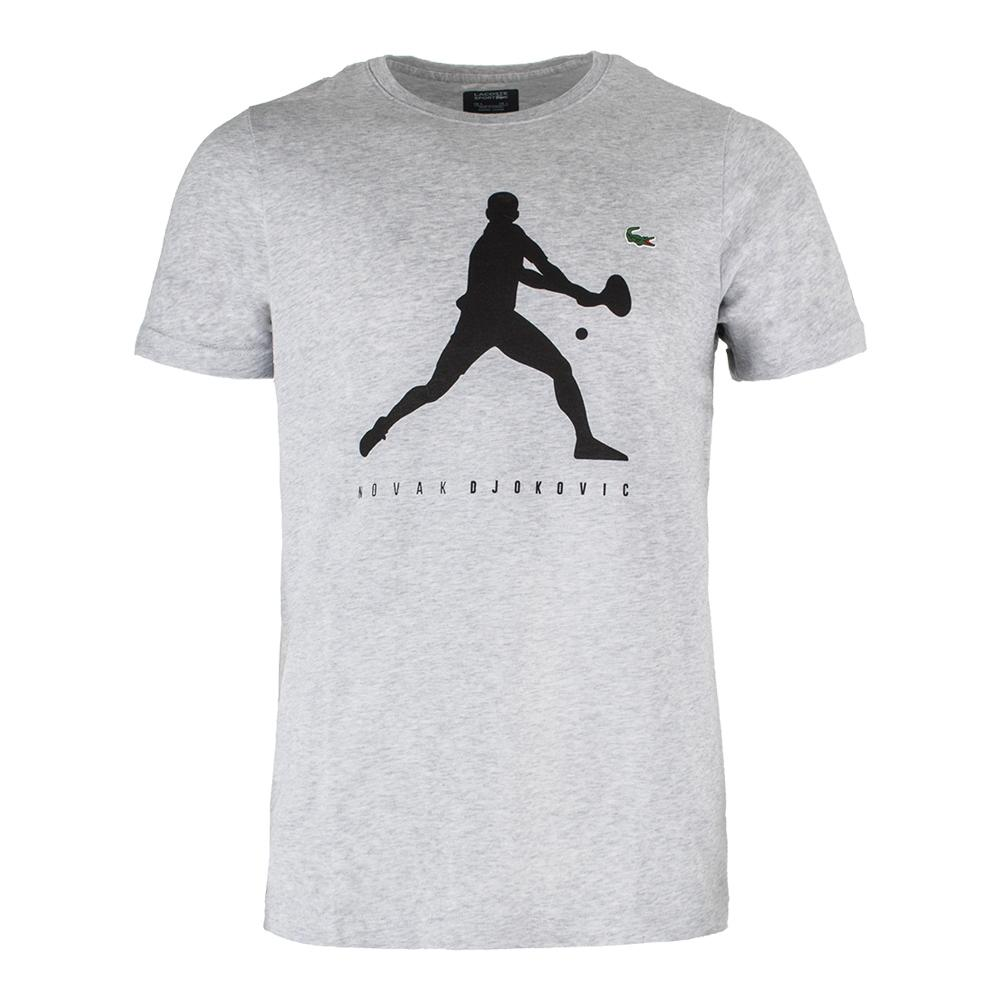 Men's Novak Logo Tennis Tee Silver Chine
