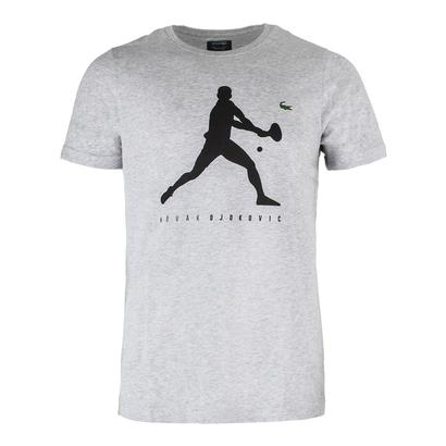 Men`s Novak Logo Tennis Tee Silver Chine