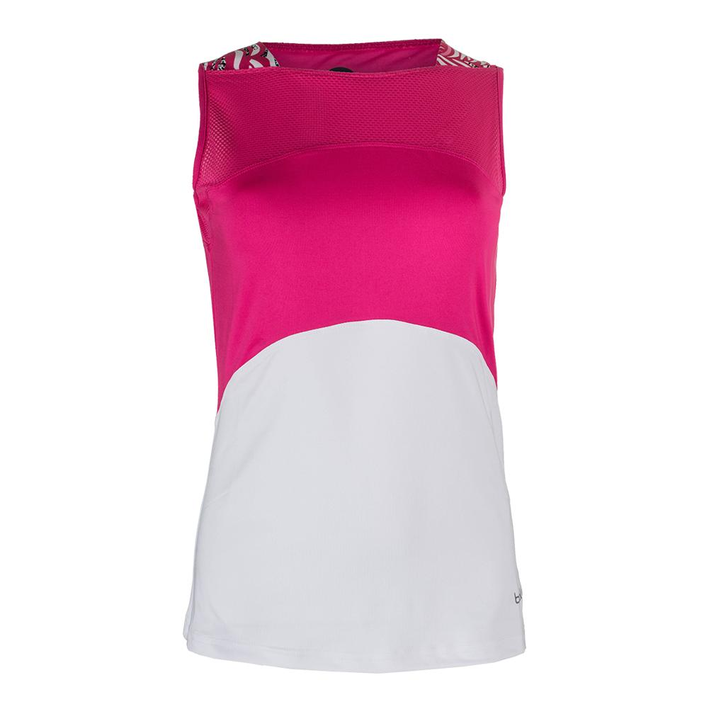 Women's Tennis Tank White And Azalea
