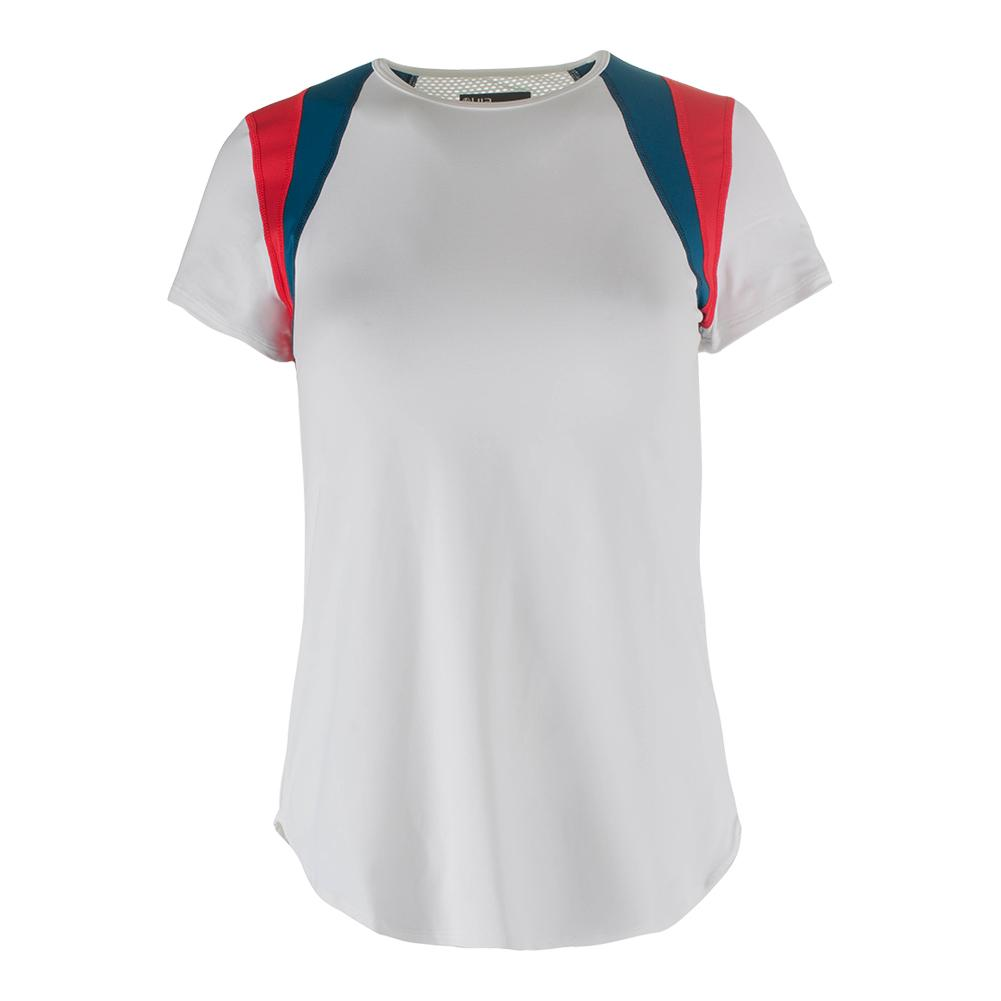Women's Old School Tennis Tee White And Lava Red