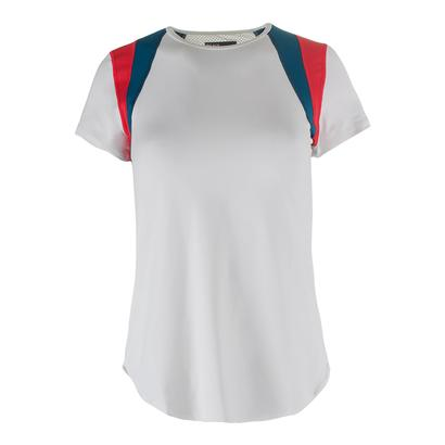 Women`s Old School Tennis Tee White and Lava Red