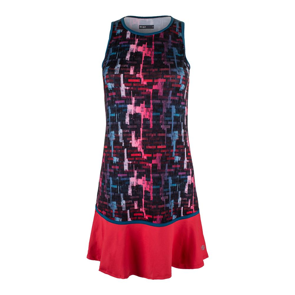 Women's Shake It Up Tennis Dress Tile Print And Lava Red