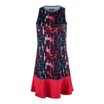 Women`s Shake it Up Tennis Dress Tile Print and Lava Red