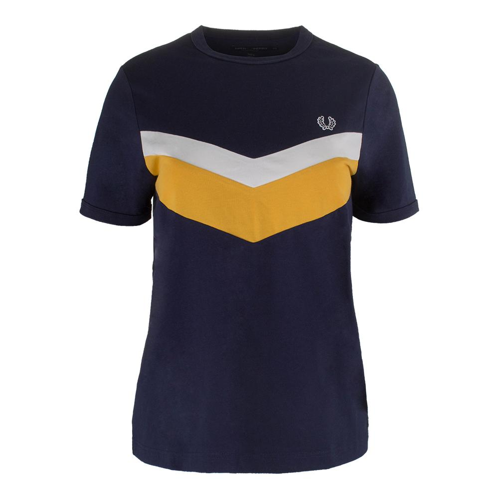 Women's Chevron Ringer Tennis Tee Carbon Blue
