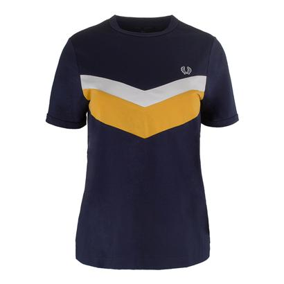 Women`s Chevron Ringer Tennis Tee Carbon Blue