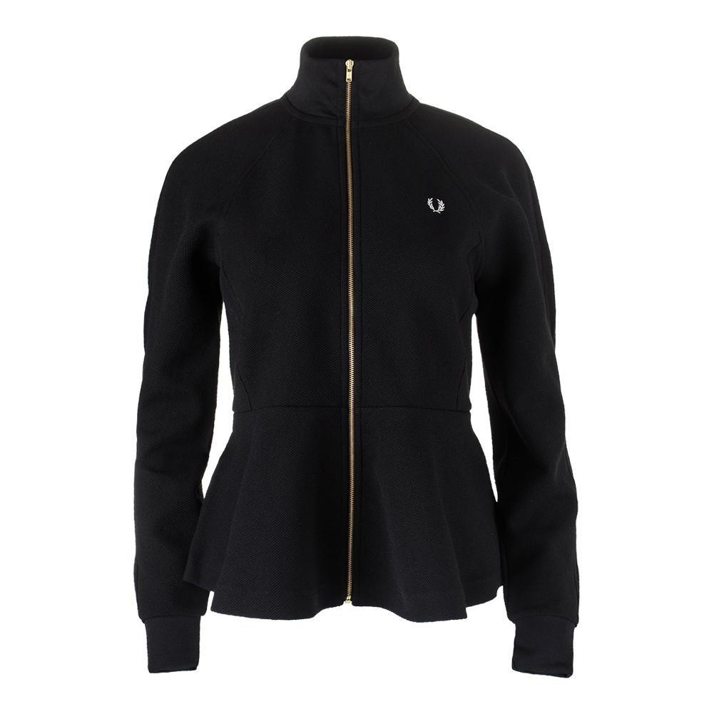 Women's Peplum Tricot Track Jacket Black