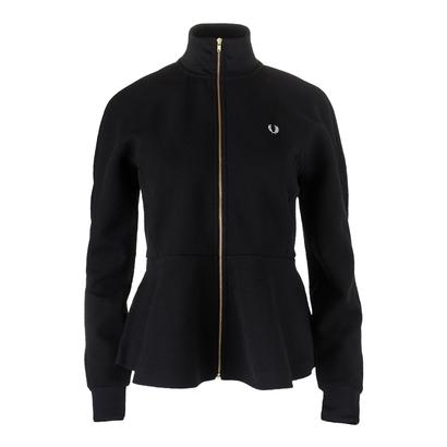 Women`s Peplum Tricot Track Jacket Black