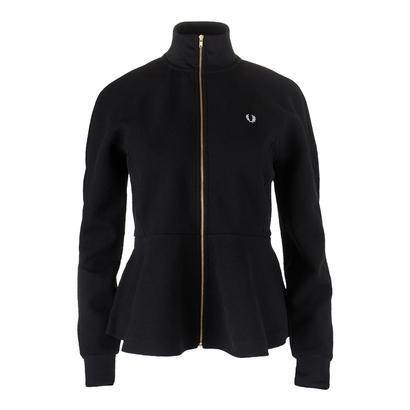 Women`s Peplum Tricot Track Jacket Black