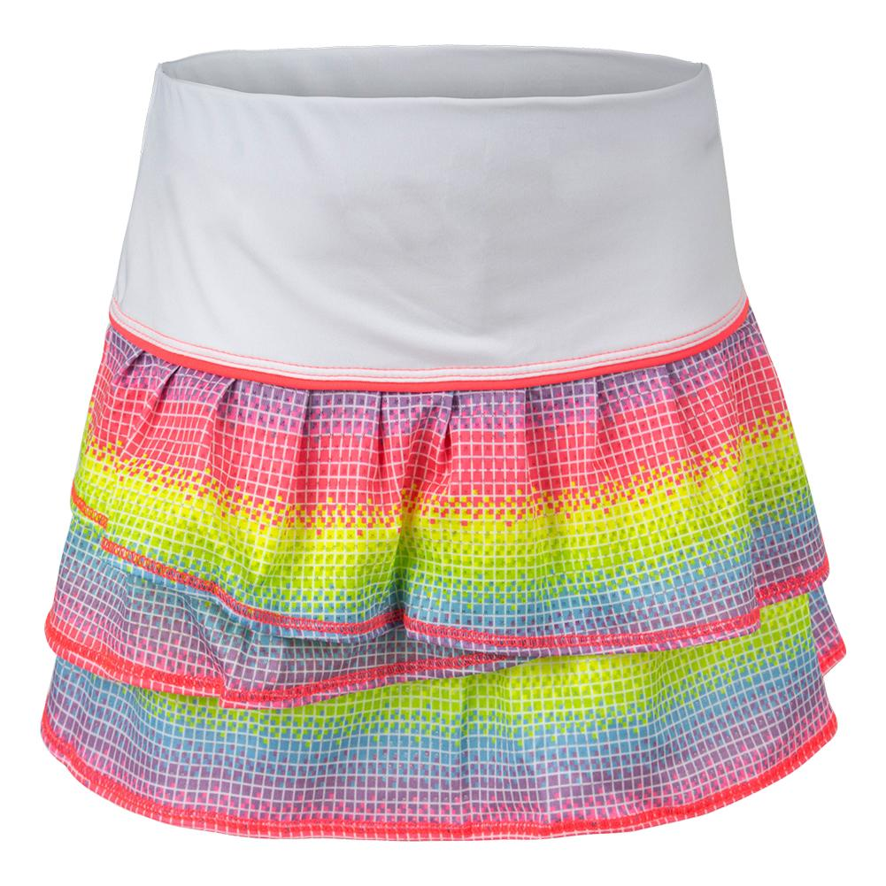 Girls ` Nano Rainbow Pleat Tennis Skort White