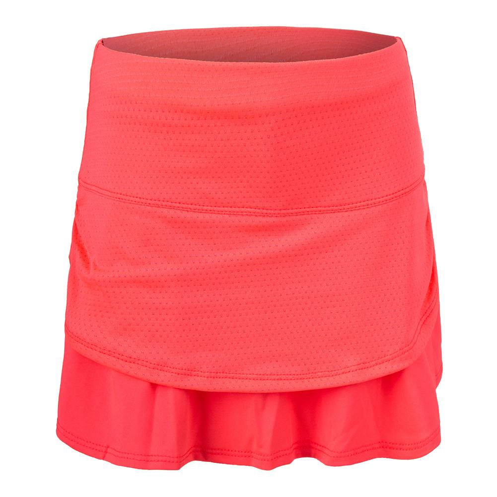 Girls ` Pindot Ruched Tier Tennis Skort Coral