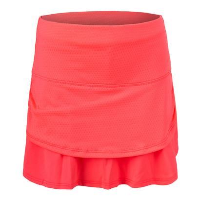 Girls` Pindot Ruched Tier Tennis Skort Coral