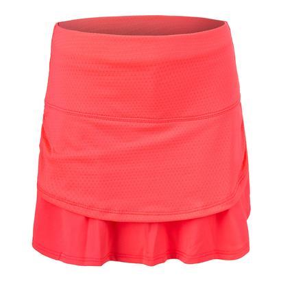 Girls` Pindot Ruched Tier Tennis Skort Coral