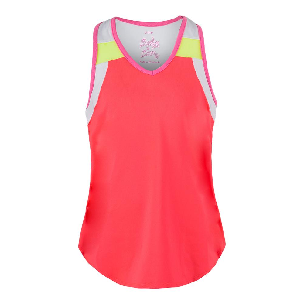Girls ` V- Neck Swing Back Tennis Tank Coral