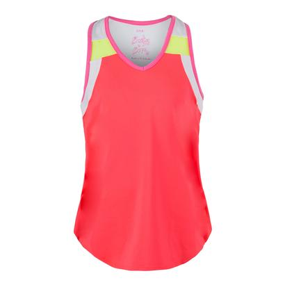 Girls` V-Neck Swing Back Tennis Tank Coral