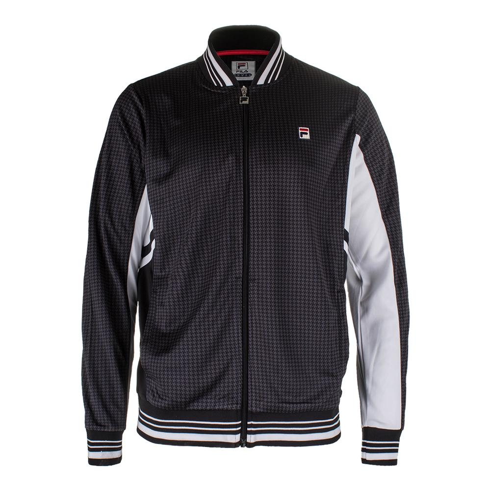 Men's Houndstooth Settanta Tennis Jacket Nine Iron And Black