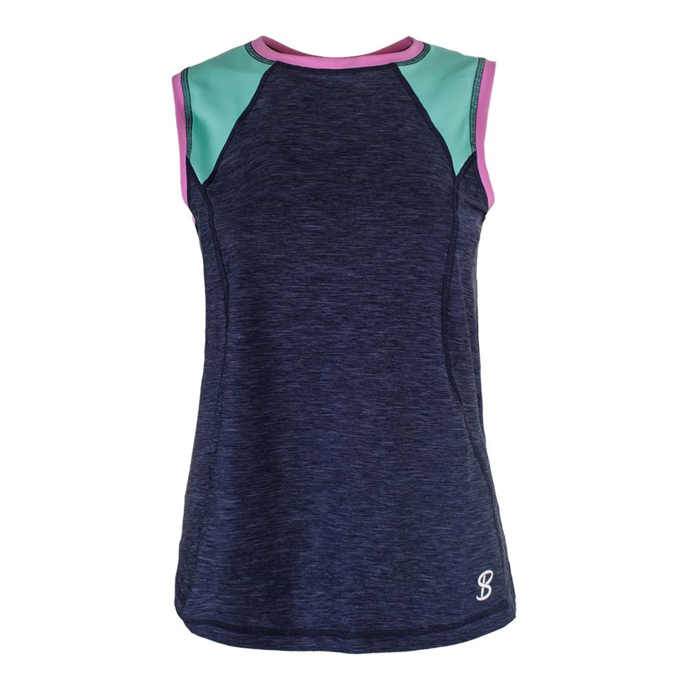Women's Classic Sleeveless Tennis Top Navy Melange
