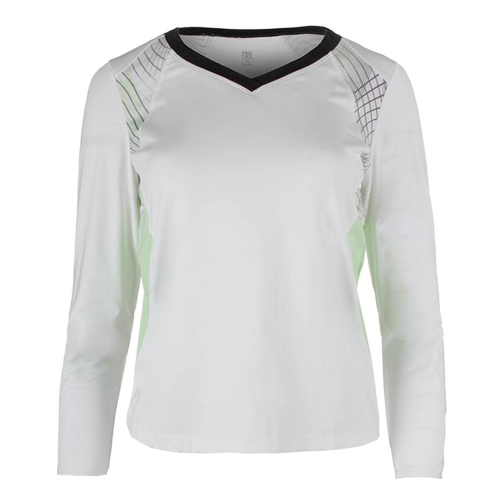 Women's Gisselle Long Sleeve Tennis Top White And Enchantment Honeydew