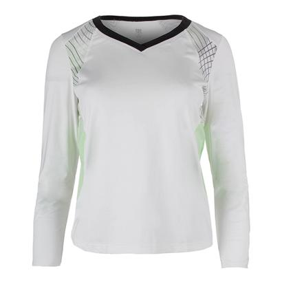 Women`s Gisselle Long Sleeve Tennis Top White and Enchantment Honeydew