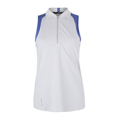 Women`s Sleeveless Colorblock Knit Pure White and Tyler Blue