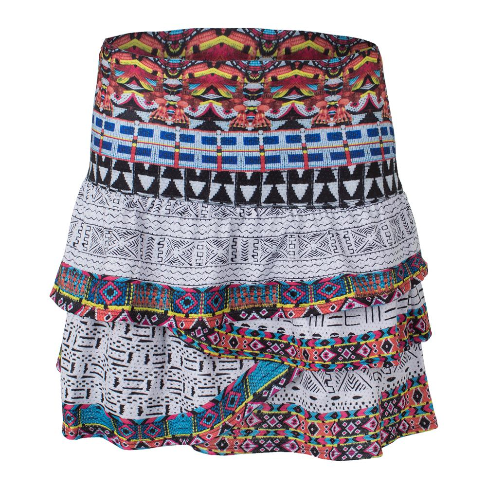 Women's Long Tut Ruched Scallop Tennis Skort Print