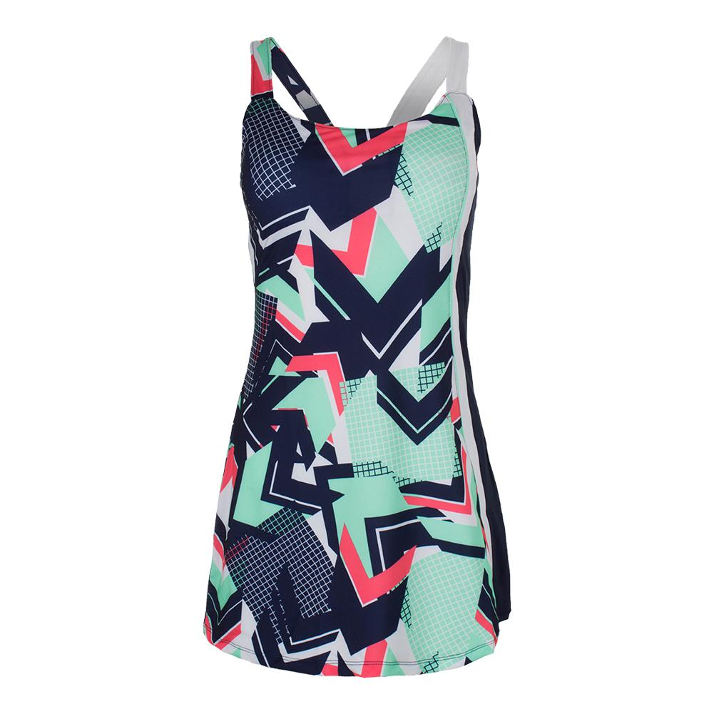 Women's Heritage Tennis Dress Retro Print And Diva Pink